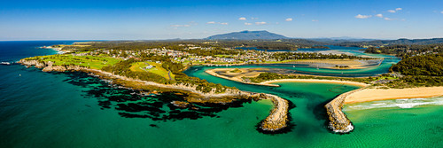 Narooma's Wagonga inlet shot from the air in a wide panorama print