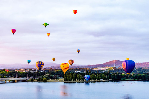 Canberra Balloon Festival above Lake Burley Griffin print only