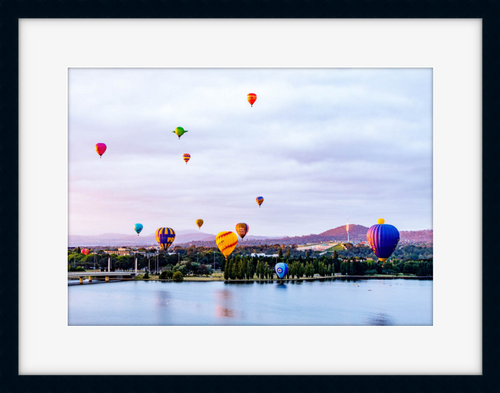 Canberra Balloon Festival above Lake Burley Griffin black frame