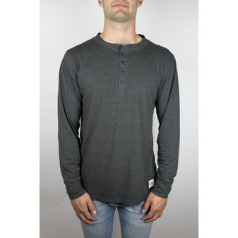 The Ignition Long Sleeve Henley in Heather Grey