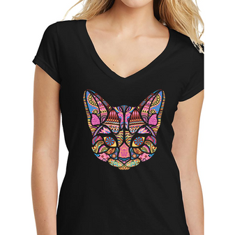 """Zen Cat"" Ladies V-Neck Tee"