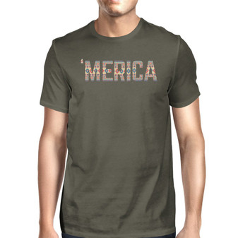 'Merica Mens Dark Grey Tee Shirt for 4th OF July Unique Tshirt Gift