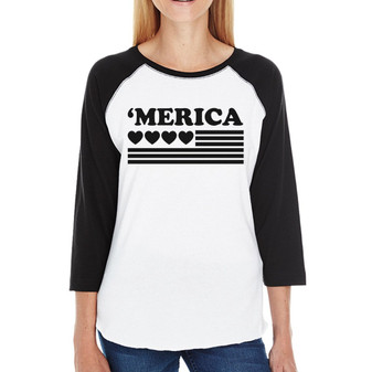 'Merica With Heart Womens Cotton Cute Raglan Tee for 4th of July