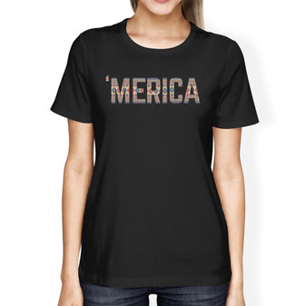 'Merica Unique 4th of July Design T-Shirt for Women Tribal Pattern