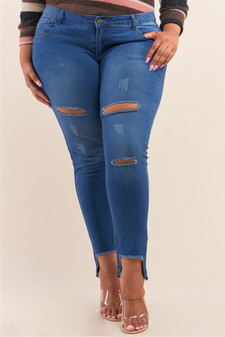 Plus Size Light Blue Low-Rise Ripped Denim Pants /1-2-3-3-2-1