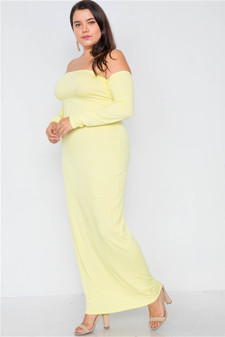Plus Size Ribbed Yellow Maxi Dress