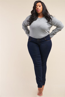 Plus Size Dark Blue Low-Mid Rise Straight Cut Denim Pants /1-2-3-3-2-1