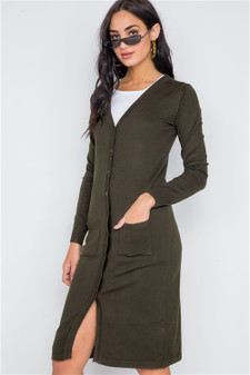 Olive Button Front Longline Cardigan