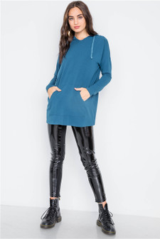 Teal Knit Long Sleeve Hooded Solid Sweater