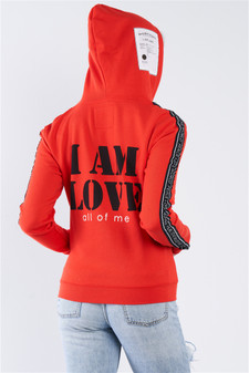 """Apple Red """"I Am Love, All Of Me"""" Long Sleeve Hoodie"""