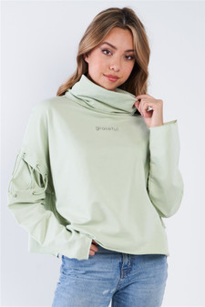 """Mint Turtleneck Lace Up Batwing Sleeve """"GRATEFUL"""" Loose Fit Sweater"""