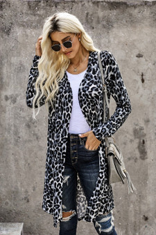 Long sleeves,open front Chic print all over, mid long length