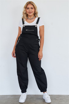 Black, solid, oversized, baggy, coverall