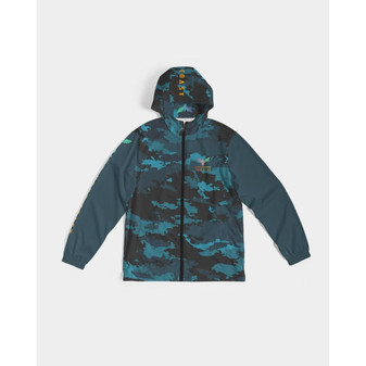 Men's High Seas Coast Camo Water Resistant Lightweight Hooded Windbreaker