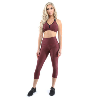 SALE! 50% OFF! Verona Activewear Set - Leggings & Sports Bra - Maroon [MADE IN ITALY] - Size Small