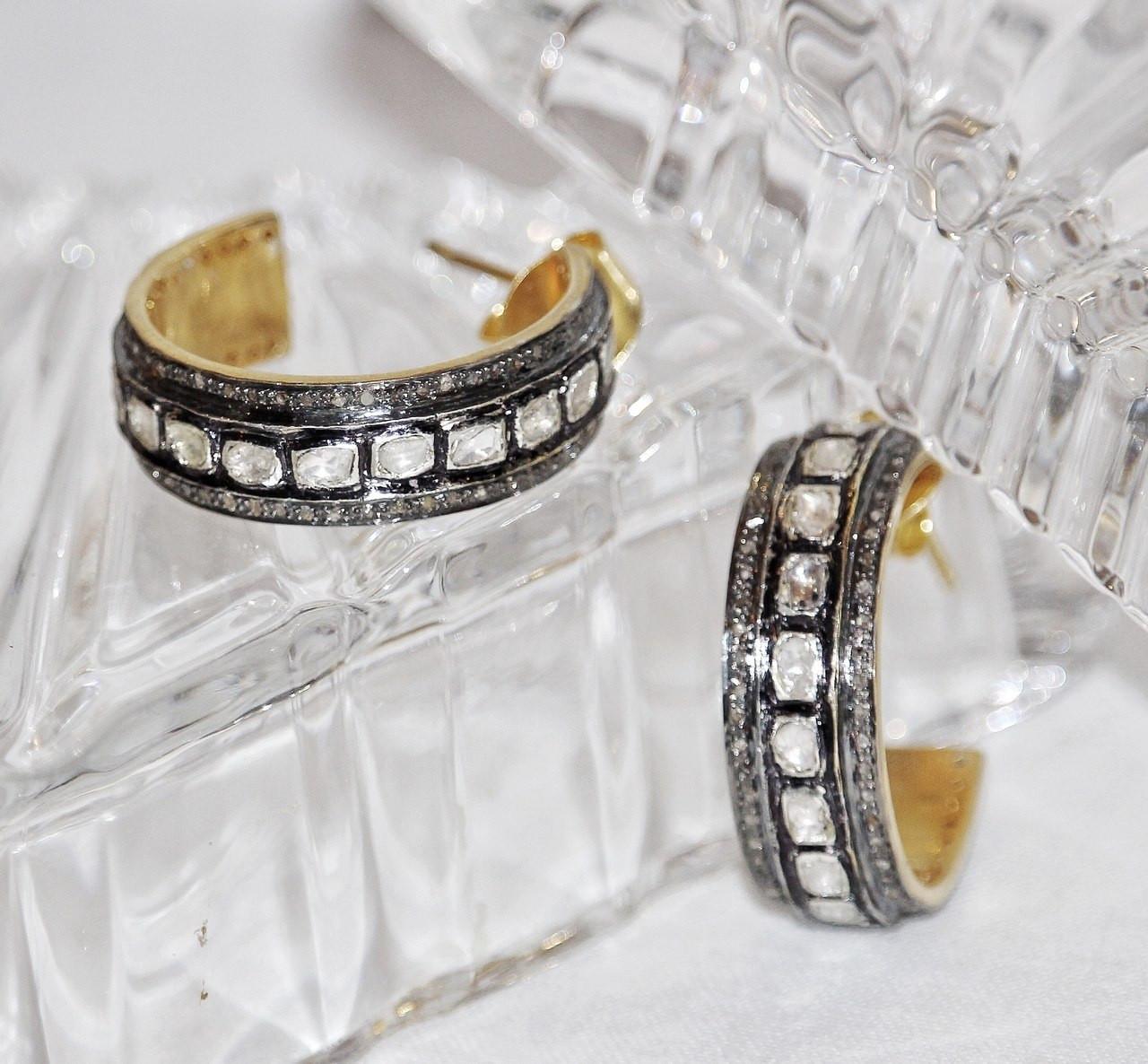 31087c4ad Polki Diamond Hoops Oxidized Sterling Silver Vermeil Gold - Susan ...