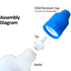 30mL Unicorn Bottles - Long Thin Tip - CRC Cap - Squeezable LDPE Plastic