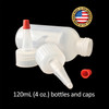 120mL (4oz) Boston Round LDPE Plastic Bottle with Yorker Spout Cap
