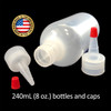 240mL (8oz) Boston Round LDPE Plastic Bottle with Yorker Spout Cap