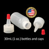 30mL (1oz) Boston Round LDPE Plastic Bottle with Yorker Spout Cap