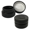 Low Profile Jars - 2 oz - 60mL - HDPE Plastic - Child Resistant Lid (Black, 12 Pack)