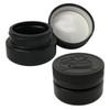 Low Profile Jars - 2 oz - 60mL - HDPE Plastic - Child Resistant Lid (Black, 12 Pack)