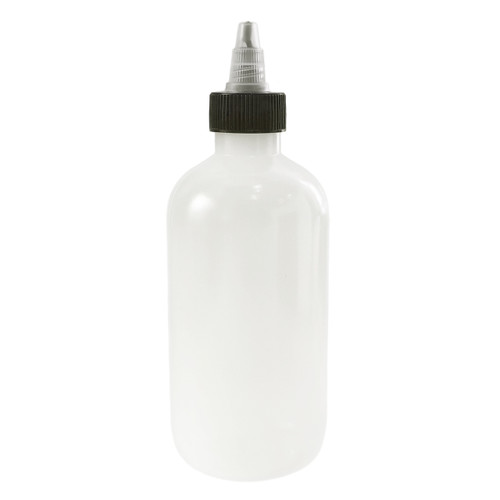 240mL (8oz) Boston Round LDPE Plastic Bottle with Twist Top Cap