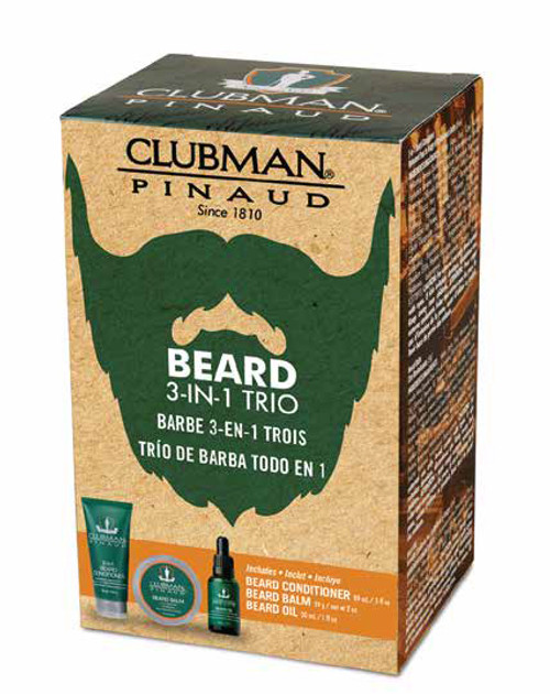 Clubman Beard 3 in 1 Trio - Beard Balm, Oil and 2 in 1 Conditioner