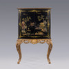 A Chinoiserie Chinese Style Carved - 67 Inch Handcrafted Reproduction Bar Cabinet - Ebony Black - EBN and Gilt Luxurie Furniture Finish
