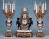 Antique Style French Louis Garniture, Gilt Brass Ormolu, Bianco Carrera Italian Marble Mantel, Table Clock & Candelabra, French Gold Finish, Handmade Reproduction of a 17th, 18th Century Dore Bronze Antique, 265