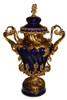 Lyvrich d'Elegance, Porcelain and Gilded Dior Ormolu   Bleu foncé et doré   Versailles Potiche Jar   Covered Statement Urn   Centerpiece   28.37t X 20.09w X 12.41d   6314