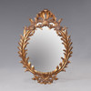 """A Rocaille Louis XIV French Baroque Period - 60"""" Handcrafted Reproduction Oval Wall, Buffet, Mantel, Console Mirror - Gold Luxurie Furniture Finish NF9, 6452"""