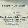 3.81 Micro Pavé Mined Diamond Engagement Ring by GuyDesign®, 03.81 Ct. Hand Cut Princess Shape G-H Color Excellent Diamond Quality Benzgem Replica Diamond, Custom Jewelry 6952