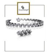 4CA Natural Hearts & Arrows Ideal Cut Diamond 6.72 carat TDW Fanciful Zig Zag Bracelet, Platinum, Each Diamond is 1/8th of a Carat.