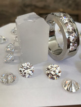 ▭ The Believable and Realistic Diamond Color of 8A Grade Benzgem compared to a $36,000 Diamond Wedding Band