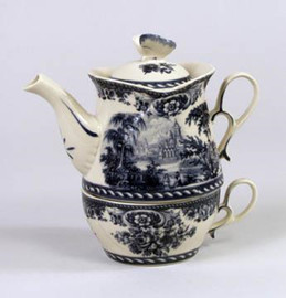 Blue and White Porcelain Transferware Stacked Teapot | Teacup for One | Toile Design | Castle in the Countryside, - 7t x 7L x 4.5d