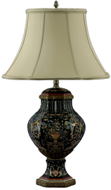 Porcelain Lamp with Silk Shade - Floral Drama Pattern