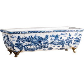 Classic Blue and White Porcelain Centerpiece Planter with Bronze Mounts 10011