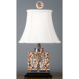 Autumn in Bloom Pattern - Luxury Hand Painted Porcelain - 18 Inch Lamp with Silk Shade