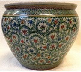 "Chinese Porcelain Fish Bowl Planter 20"" - Style 35"