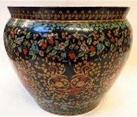 "Chinese Porcelain Fish Bowl Planter 20"" - Style 35 - Black Floral Drama"