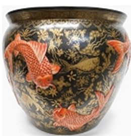 "Chinese Porcelain Fish Bowl Planter 20"" - Style 35 - Koi on Black"
