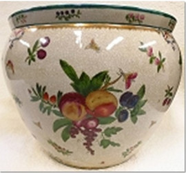 "Chinese Porcelain Fish Bowl Planter 20"" - Style 35 - Harvest Fruit"