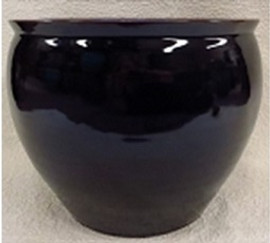 "Chinese Porcelain Fish Bowl Planter 20"" - Style 35 - Solid Ebony Black"