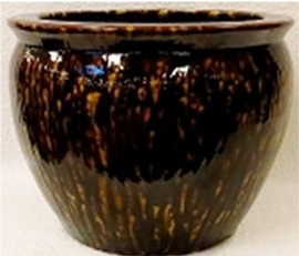 "Chinese Porcelain Fish Bowl Planter 20"" - Style 35 - Tortoise Shell Finish"