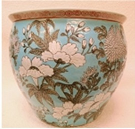 "Chinese Porcelain Fish Bowl Planter 20"" - Style 35 - Tourquoise and White"