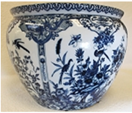 "Blue and White Classical Chinese Porcelain Fish Bowl Planter 20"" - Style 35"
