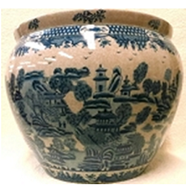 """Blue and White Classics Chinese Porcelain Fish Bowl Planter 20"""" - Style 35"""