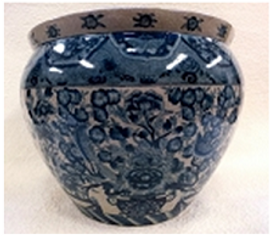 """Blue and White Classics Chinese Porcelain Fish Bowl Planter 20"""""""