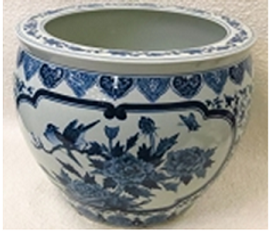 """Blue and White Classical Chinese Porcelain Fish Bowl Planter 20"""""""